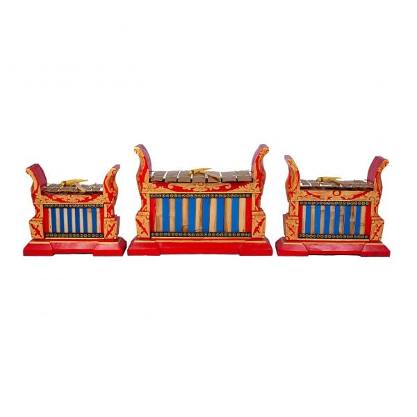This is a product image of Drums for Schools Set of Gamelan Premium 7 key - Small, Medium, Large. The three sizes gamelan are placed in a row.