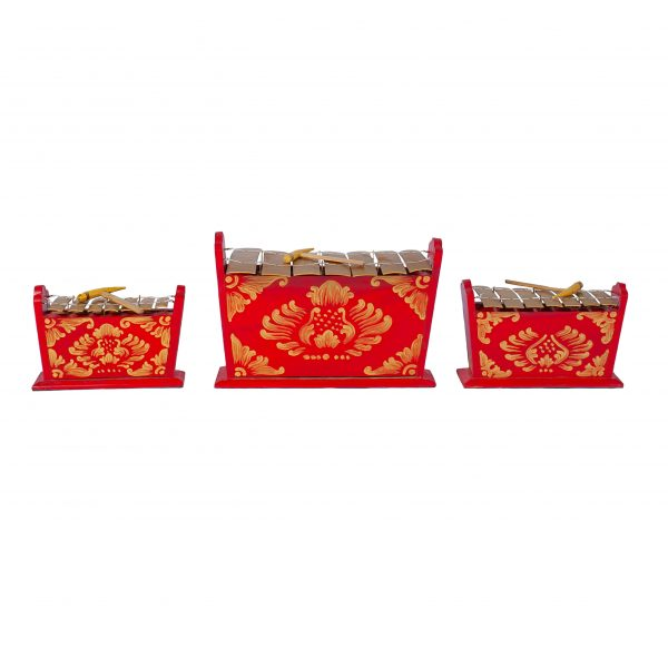 This is a product image of Drums for Schools Set of Gamelan Standard 7 key - Small, Medium, Large. The three sizes gamelan are placed in a row.