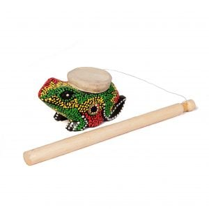 This is a product image of Drums for Schools frog twirler with dot paint