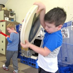 This is a product image of Drums for Schools' Ocean drum 16in, 40cm diameter, played in action.