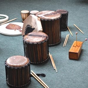 Image of Drums for Schools' instruments ready to be played