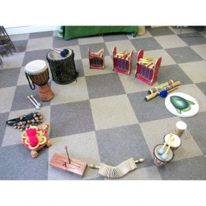 Image of Drums for Schools' big stuff kit 14 instruments laid in circle