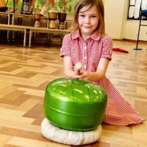 This is a product image of Drums for Schools' Dream Drum Kit played by early years student