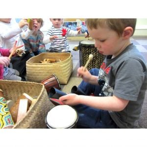 Image of children playing Drums for Schools' lots of littles kit