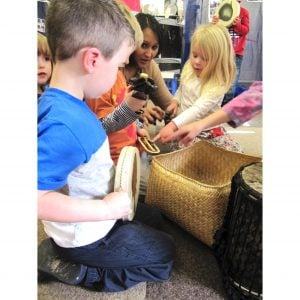 Image of children playing Drums for Schools' nursery shaker ki