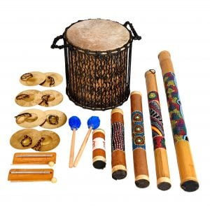 This is a product image of Drums for Schools Special Educational Needs, Pulse and Play kit with 12 instruments in a basket