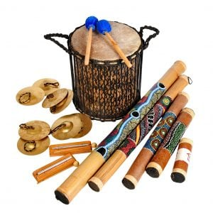This is a product image of Drums for Schools Special Educational Needs, Pulse and Play kit with 12 instruments laid out