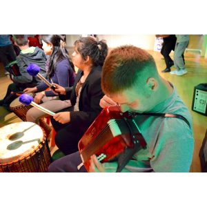 Image showing of group of Special Education Need students playing Drums for School instruments