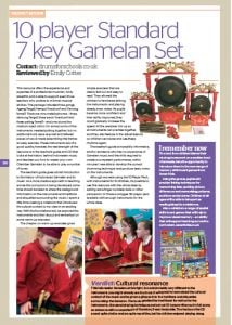 Image of an article reviewing of Drums for Schools' Gamelan instruments
