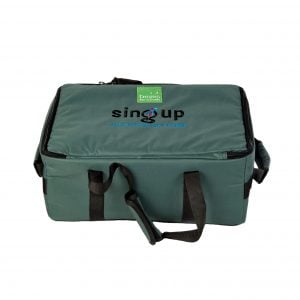image showing  of Drums for Schools small size storage bag for percussion with Sing Up logo opened