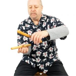 image showing Drums for Schools early years clapsticks played by Andy Gleadhill