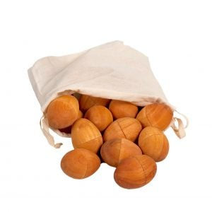 This is a product image of Drums for Schools 30 natural egg shakers in a bag