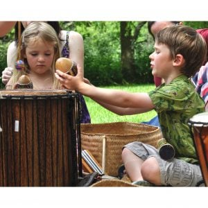 Image of students playing Drums for Schools' Egg Shaker Painted