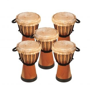 This is product image of Drums for Schools' Set of Standard Djembe Natural 30cm - 5 pack. Image is showing the drums grouped tight