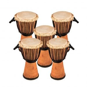 This is product image of Drums for Schools' Set of Standard Djembe Natural 40cm - 5 pack. Image is showing the drums grouped tight