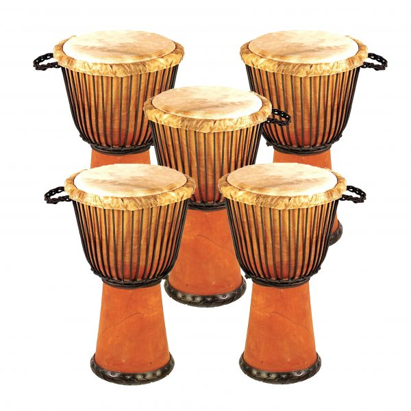 This is product image of Drums for Schools' Set of Standard Djembe Natural 60cm - 5 pack. Image is showing the drums grouped tight