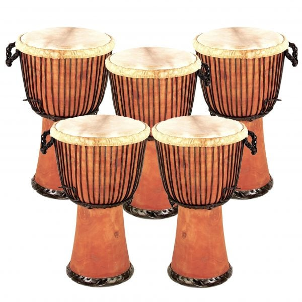 This is product image of Drums for Schools' Set of Standard Djembe Natural 65cm - 5 pack. Image is showing the drums grouped tight