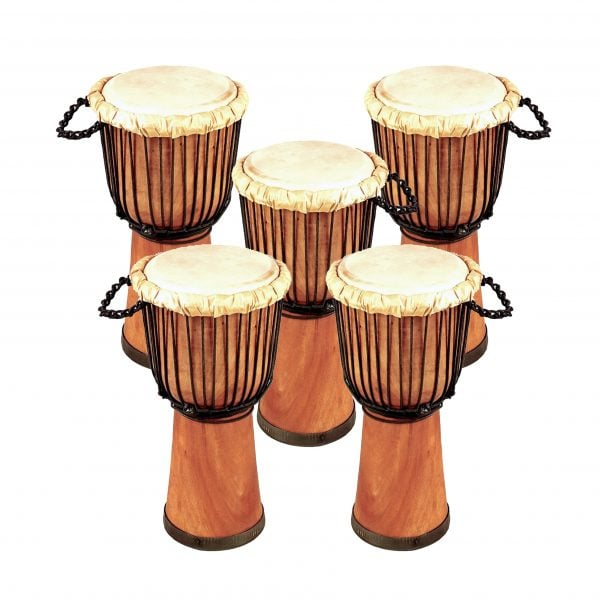 This is product image of Drums for Schools' Set of Standard Djembe Natural 50cm - 5 pack. Image is showing the drums grouped tight