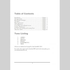 Table of Contents page from Andy Gleadhill African Drumming 2