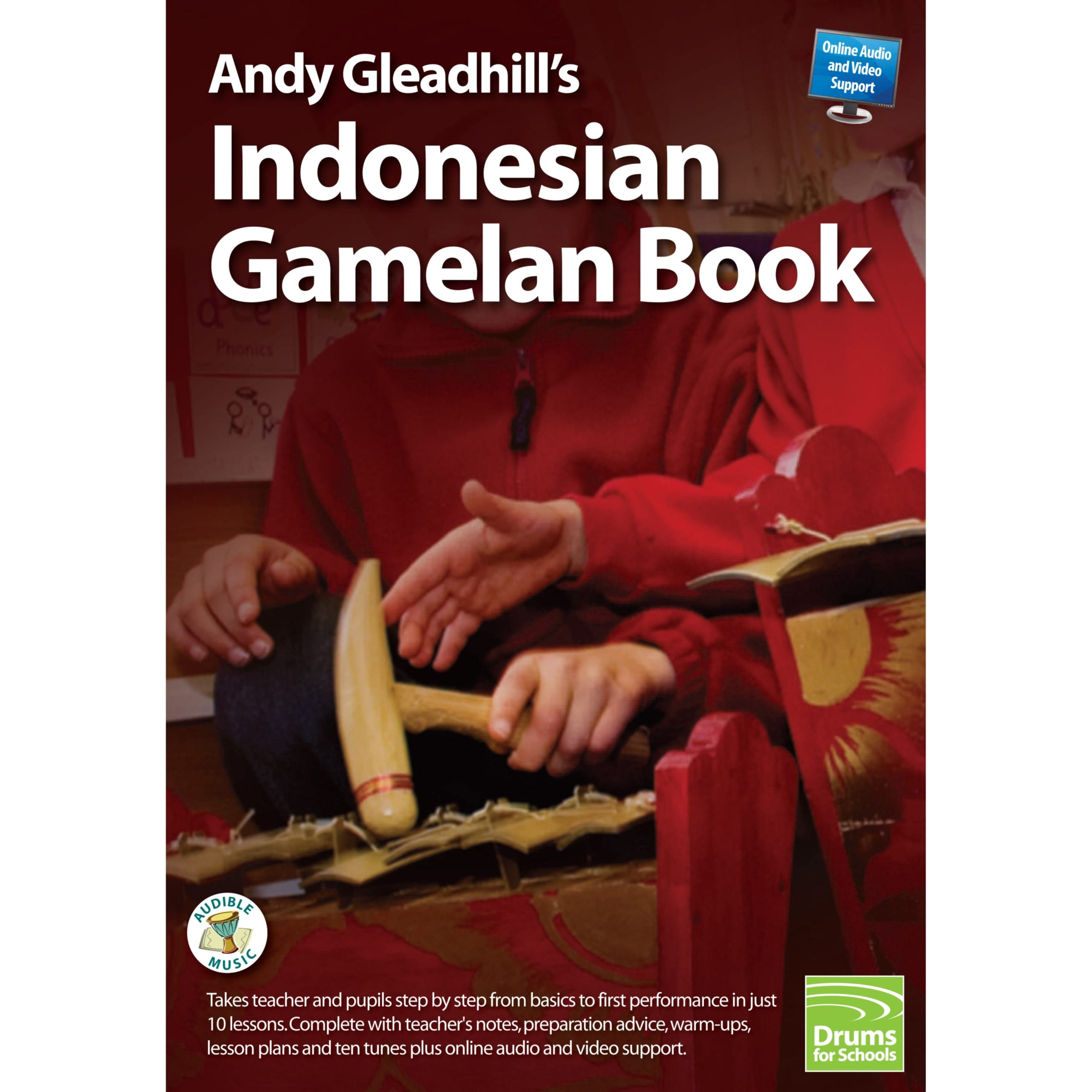 This is a product image of the front cover of Andy Gleadhill's Indonesian Gamelan Book.