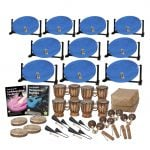 This is a product image of the Caribbean Steel Pan - 30 Player Jumbie Desktop Class Pack - Budget Buddies. The products are laid out and include the following; Back Three Rows - Ten Jumbie Jam Steel Pan - Desktop (Blue). Fourth Row - Andy Gleadhill's Caribbean Steel Pan Book, Andy Gleadhill's Percussion Buddies Book, four Bongos (African Bongos), Storage Basket. Front Row - Three Tambourine, four Agogo Bells - Medium, four Maraca - Coconut, pair, four Guiro - Small - bamboo. The Steel Pans each have a pair of beaters resting on them.
