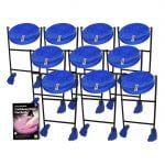 This is a product image of the Caribbean Steel Pan - Jumbie 10 Pack. The products are laid out and include the following; Ten Jumbie Jam Steel Pan - Floor Standing (Blue) and Andy Gleadhill's Caribbean Steel Pan Book. The Steel Pans each have a pair of beaters resting on them.