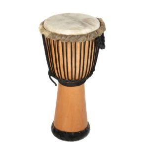 This is a product image of the Djembe Drum - Premium - 10.5in diameter, 60cm high, natural from the side.