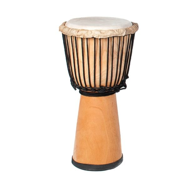 This is a product image of the Djembe Drum - Standard - 9in diameter, 50cm high, natural. It is stood straight up and shows the rubber base, the wooden shell, and the goatskin on top held in place by rope.