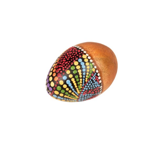 This is a product image of the Egg Shaker - Small - 5cm, painted. It is a simple wooden egg shape with the top half of the egg covered in dots of paint in many different colours.