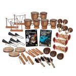 This is a product image of the World Percussion - 30 Player Class Pack. The products are laid out and include the following; Back Row - Three Triangle on Stand, three Bongos (African Bongos) three Maraca - Coconut, pair. Second Row - Three Agogo Bells - Natural, Andy Gleadhill's Class Percussion Book, Andy Gleadhill's Percussion Buddies Book, three Gamelan (Metallophone) - C major. Third Row - Three Tambourine, three Clapsticks (Claves) - 23cm, three Thumb Piano (Mbira) - natural, coconut. Bottom Row - Three Guiro - Small - bamboo, three Bento Shaker.