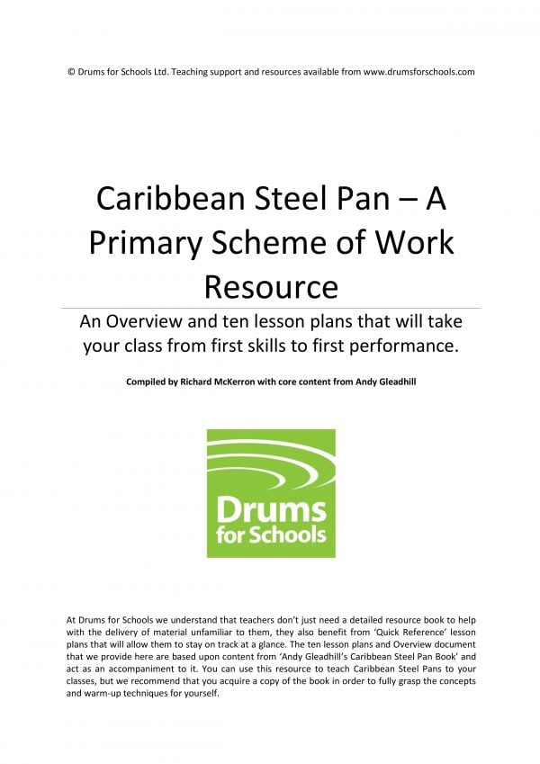 Title Graphic of Andy Gleadhill's Caribbean Steel Pan Primary Scheme of Work