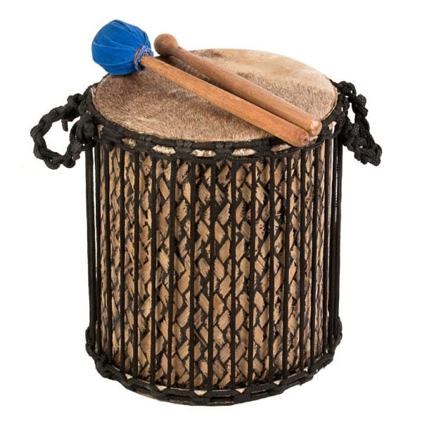This is a product image of Drums for Schools' Supermini Kenkeni Bamboo Drum, 10in diameter, 30cm high