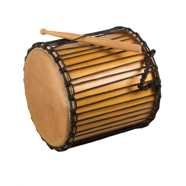This is a product image of Drums for Schools' Kenkeni Recycled wood, 14in diameter, 40cm high, side angle shot.