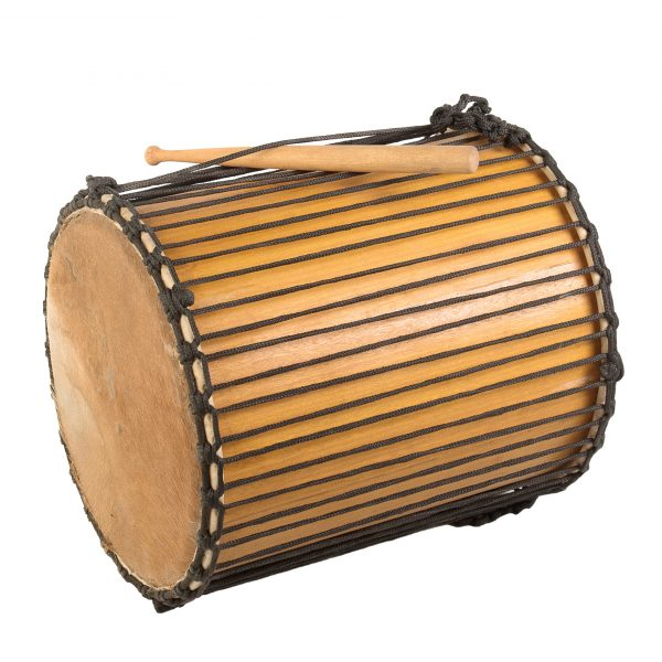 This is a product image of Drums for Schools' Sangban Recycled wood, 16in diameter, 50cm high, side angle shot.