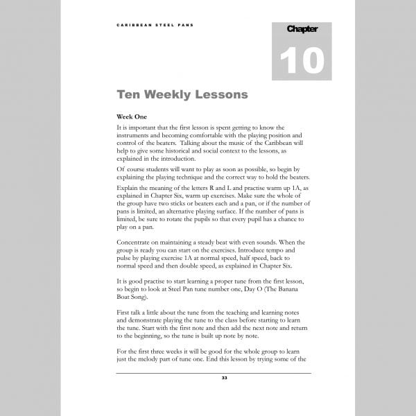 Image showing the first page of Ten Weekly Lessons from Andy Gleadhill's Caribbean Steel Pans teaching guide