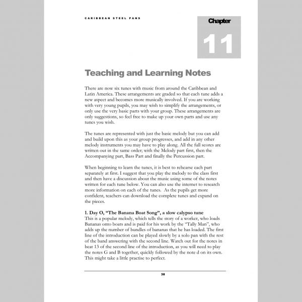 Image showing the first page of Teaching and Learning notes from Andy Gleadhill's Caribbean Steel Pans teaching guide