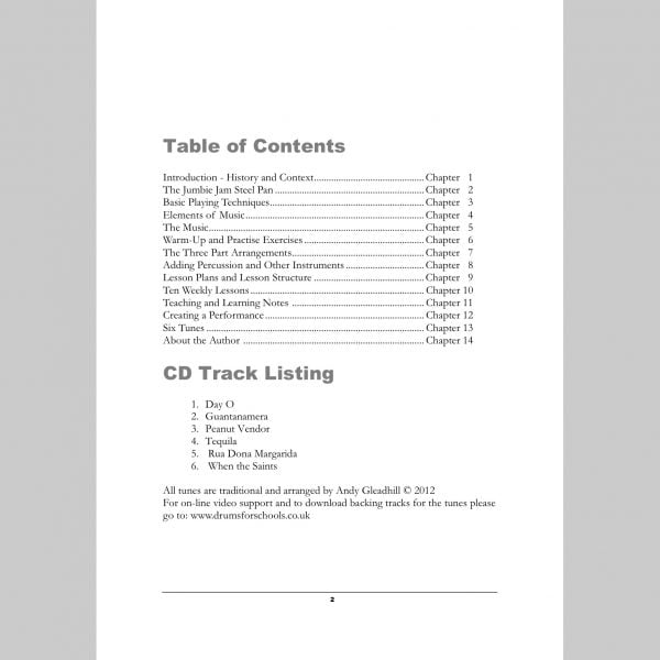 Image showing the Contents page from Andy Gleadhill's Caribbean Steel Pans teaching guide