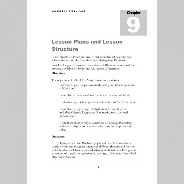 Image showing a page about Lesson Plans from Andy Gleadhill's Caribbean Steel Pans teaching guide